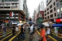 Pedestrian crossing, Causeway Bay, Hong Kong Island, Hong Kong, China, Asia