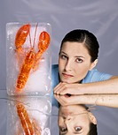 Woman with frozen lobster