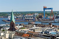 View over the city of Kiel, the Nikolai Church on the Old Market and the HDW shipyard in the inner fjord, Schleswig_Holstein, Germany, Europe