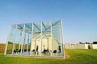 Glass, construction, modern architecture, former missile base, art museum, Langen Foundation, architect Tadao Ando, Hombroich, Kreis Neuss district, N...