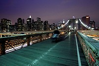 Brooklyn Bridge at night, Manhattan, New York City, NYC, USA