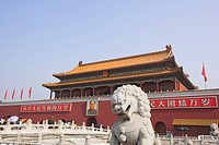 Imperial Palace, Forbidden City, Gate of Heavenly Peace, Tiananmen Square, lion statue, Beijing, China, Asia