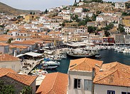 Tiled rooftops of local village, Hydra, Argo_Saronic Islands, Greece