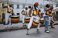 World renowned Afrobloc group Olodum, Largo do Pelhourinho, Salvador, Bahia, Brazil