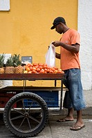 Fruit seller in the street, Cartagena, Colombia