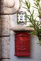 House number 2 with lemons and mailbox, Limone sul Garda, Italy, Europe
