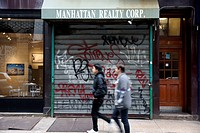 Closed real estate offices in Manhattan, New York City, New York, USA