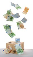 Raining banknotes, symbolic image for a stimulus package, tax cuts