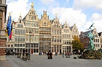 Former guild houses, Grote Markt square, Antwerp, Belgium, Europe