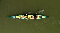 Topview, kayak and two kayakers