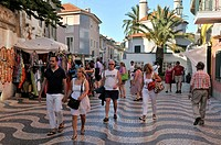 Tourists in the seaside resort of Cascais, near Lisbon, Portugal, Europe