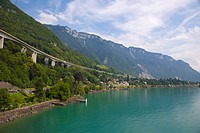 View towards Villeneuve, Lake Geneva, Veytaux, Switzerland, Europe