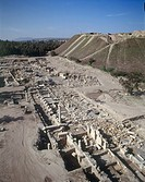 Aerial photograph of the ruins of the Roman city of Beit Shean in the Jordan valley