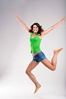 Woman jumping in excitement