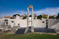 Roman theatre in a city, Theatre Antique, Arles, Provence_Alpes_Cote d´Azur, France