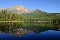 Mount Pyramid reflecting in Pyramid Lake  Jasper National Park, Rocky Mountains, Alberta, Canada