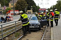 Accident, car on tram tracks, license plate changed, Munich, Bavaria, Germany, Europe