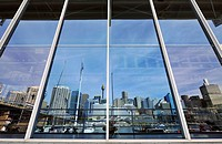 Australian National Maritime Museum, Darling Harbour, reflecting Sydney Tower or Centrepoint Tower and the skyline of the Central Business District, S...