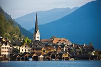 Hallstatt city at Hallstatt lake, Salzkammergut, Austria, Europe