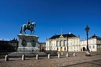 Equestrian monument and Palais Moltke in Copenhague city, Denmark, Europe