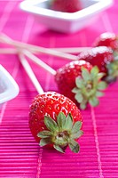 Strawberry sticks close up