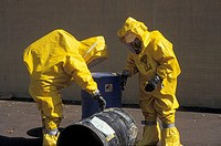 Detroit, Michigan - A training session for workers dealing with toxic chemical spills  The training was organized by the Southeast Michigan Coalition ...