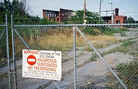 Detroit, Michigan - A sign warns of contamination on the site of a former Uniroyal tire factory