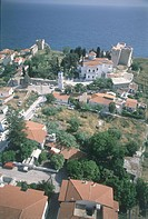 Aerial photograph of the Greek village of Pythagorio on the island of Samos