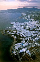 Aerial photograph of the Greek island of Mikonos at suunset