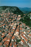 Aerial photograph of the Greek village of Agiasos on the island of Lesvos
