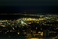 Night photograph of the Bay of Haifa