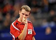 Vice European champion Werner Schlager, Austria, symbolic image for a nuance, nuances, table tennis EM 2009, Porsche-Arena, Stuttgart, Baden-Wuerttemb...