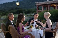 Well_dressed couples toasting wine glasses on restaurant balcony