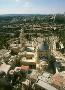 Aerial photograph of the Dormition abbey in the old city of Jerusalem