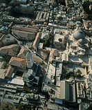 Aerial photograph of the Muristan and the church of the Holy Sepuulcher in the old city of Jerusalem