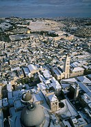 Aerial photograph of the church of the Holy Sepulcher in the old city of Jerusalem at winter