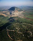 Aerial photograph of the Tavor mountain in the Jezreel valley
