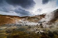 Geothermal area in Krísuvík, Iceland, Europe