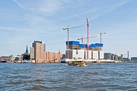 View of the emerging Elbe Philharmonic Hall in the port of Hamburg, Germany, Europe