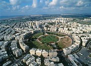 Aerial photograph of Kikar Ha´medina in northern Tel Aviv