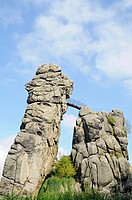 Externsteine sandstone rock formation, nature reserve, Horn Bad Meinberg, Teutoburg Forest, Kreis Lippe district, North Rhine-Westphalia, Germany, Eur...