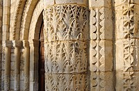 The church of Saint-Denis-d´Oléron with a Romanesque West front decorated with a carved portal flanked by two blind arcades Island of Oléron. Charente...