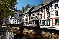 Monschau half timbered houses on the river Rur, Eifel region, Germany Europe