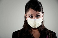 Woman wearing a breathing mask