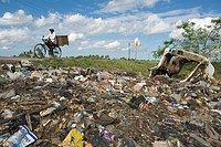 Municipal rubbish dump at the roadside, Quelimane, Mozambique, Africa