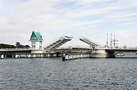 Bascule Bridge opening over the Schlei River, Kappeln, Schleswig_Flensburg, Schleswig_Holstein, Germany, Europe