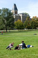 Students on Art Quad Lawn Cornell University Campus Ithaca New York Finger Lakes Region
