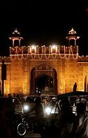 Night scene, illuminated gate in Jaipur, Rajasthan, India