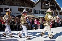 Schellenruehrer bell ringers, carnival, Mittenwald, Werdenfels, Upper Bavaria, Bavaria, Germany, Europe