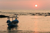 Longtail boat at sunset, Nang Thong Beach, Khao Lak, Andaman Sea, Thailand, Asia